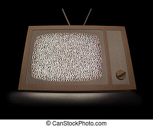 TV with white noise - TV made of cardboard with white noise...