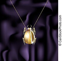 jewel beetle - dark background and jewelry chain with...