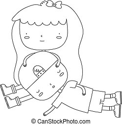 Two People - A vector illustration of a girl holding a boys...