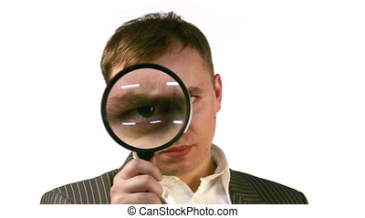 businessman with magnifier face - Face of businessman with...