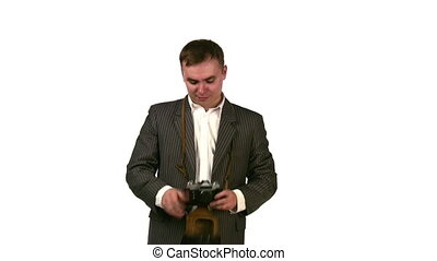 businessman with photo camera - Businessman with photo...