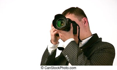 businessman with digital photo camera face - Face of...