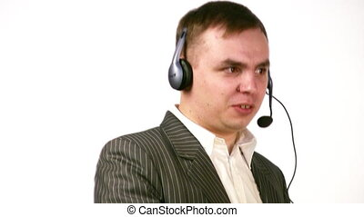 businessman with earphone