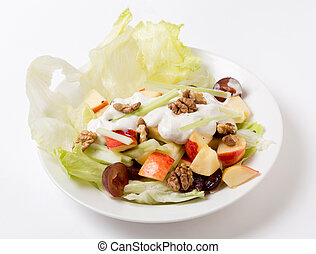 Waldorf salad over white