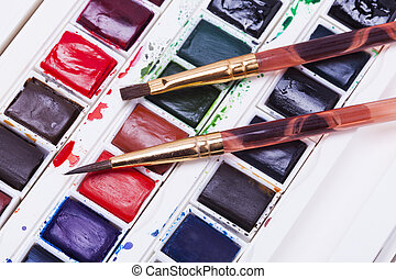 artists watercolour paints and paint brush - Artists...