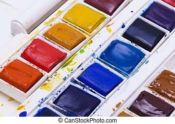 Artists watercolour paints still life background hobbies and...