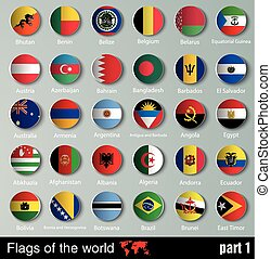 Flags of all countries with shadows - vector Flags of all...