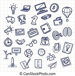 Vector business doodles icon set