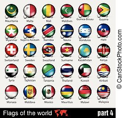 Flags of all countries in the 3d ball with shadows