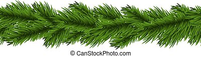 Christmas garland - Christmas fir tree garland isolated on...