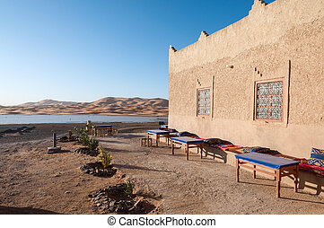 Bedouin camp and oasis in the sahara desert, Morocco, Africa