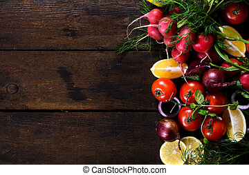 Vegetables and fruit - Large group of vegetables and fruit...