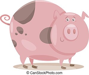 pig farm animal cartoon illustration - Cartoon Illustration...