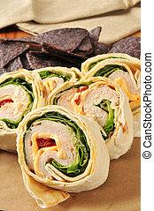 Chicken wrap sandwich - A chicken or turkey wrap sandwich...