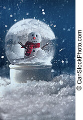 Snow globe in a snowy winter scene - Snow globe in a snowy...