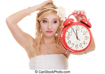 Wedding. Time to get married. Bride with alarm clock. -...
