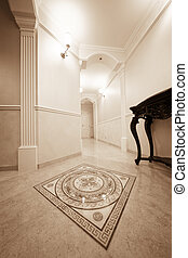 corridor - beautiful corridor with a door in a modern...