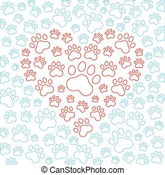 Heart with dog or cat paws background. Vector illustration