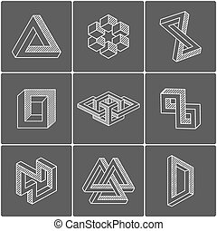Optical illusion shapes. Vector elements for design