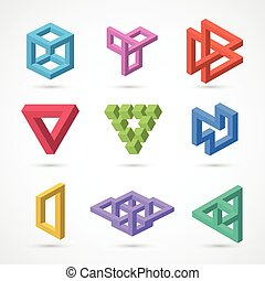 Colorful impossible shapes. Vector elements for design