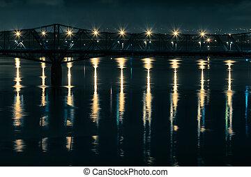 Bridge Lights - Alexandra Bridge between Ottawa, Ontario and...
