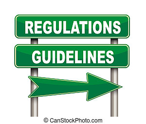 Regulations guidelines green road sign - Illustration of...