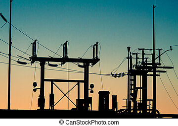 Electrical Substation - Silhouette of an electrical...