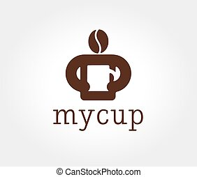 Abstract coffe bean logotype concept isolated on white...