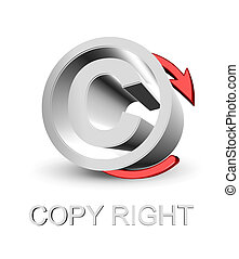 Copy right symbol with red arrow