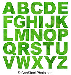 alphabet a to z made from leaf texture picture