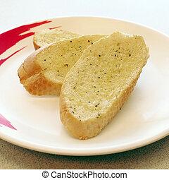 garlic bread - closeup of delicious garlic bread
