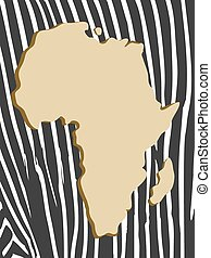 african poster with zebra map