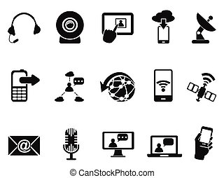 modern communication icons set - isolated modern...