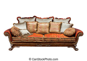 sofa with cushions - beautiful sofa with cushions on a white...