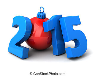 new year - 3d illustration of 2015 new year sign over white...
