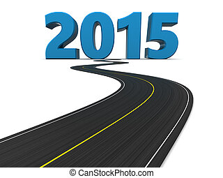 new year road - 3d illustration of road and new year sign...