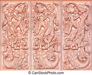 Wood carving Buddhist temple door public places of Buddhist...