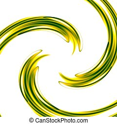 Abstract Art Background With Green Spiral - Concentric...