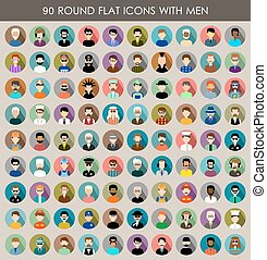 Set of round flat icons with men. - Image of flat round...