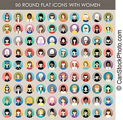 Set of round flat icons with women. - Image of flat round...