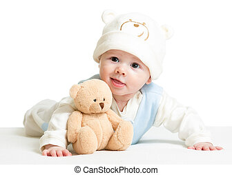 baby boy weared funny hat with plush toy - baby boy weared...