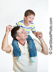 kid son riding father's shoulders isolated