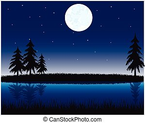 Morning on river - Vector illustration of the night...