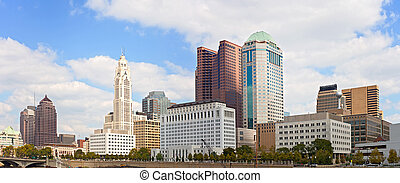 Columbus Ohio, USA downtown buildings financial center on a...