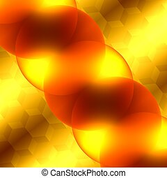 Soft Abstract Background For Design Artworks - Glowing Light Effect - Bright Orange And Yellow Transparent Glass Spheres - Surreal Artistic Illuminated Backdrop - Graphic Illustration - Optical Micros