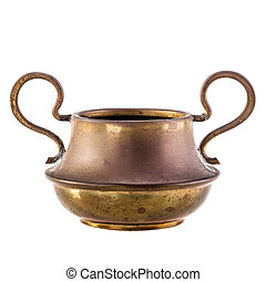 spittoon - a small and old spittoon isolated over a white...