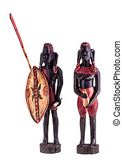 Masai Warriors - african masai warrior statuette isolated...
