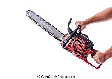 Chainsaw - a red chainsaw holded by male arms isolated over...