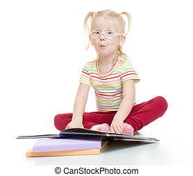 面白い,  eyeglases, 隔離された, 本, 子供, 読書