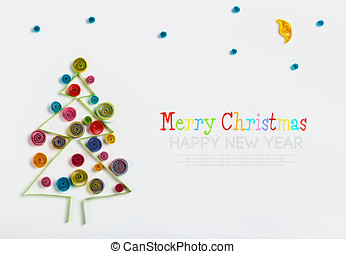 Christmas decorations made of paper quilling and place for...